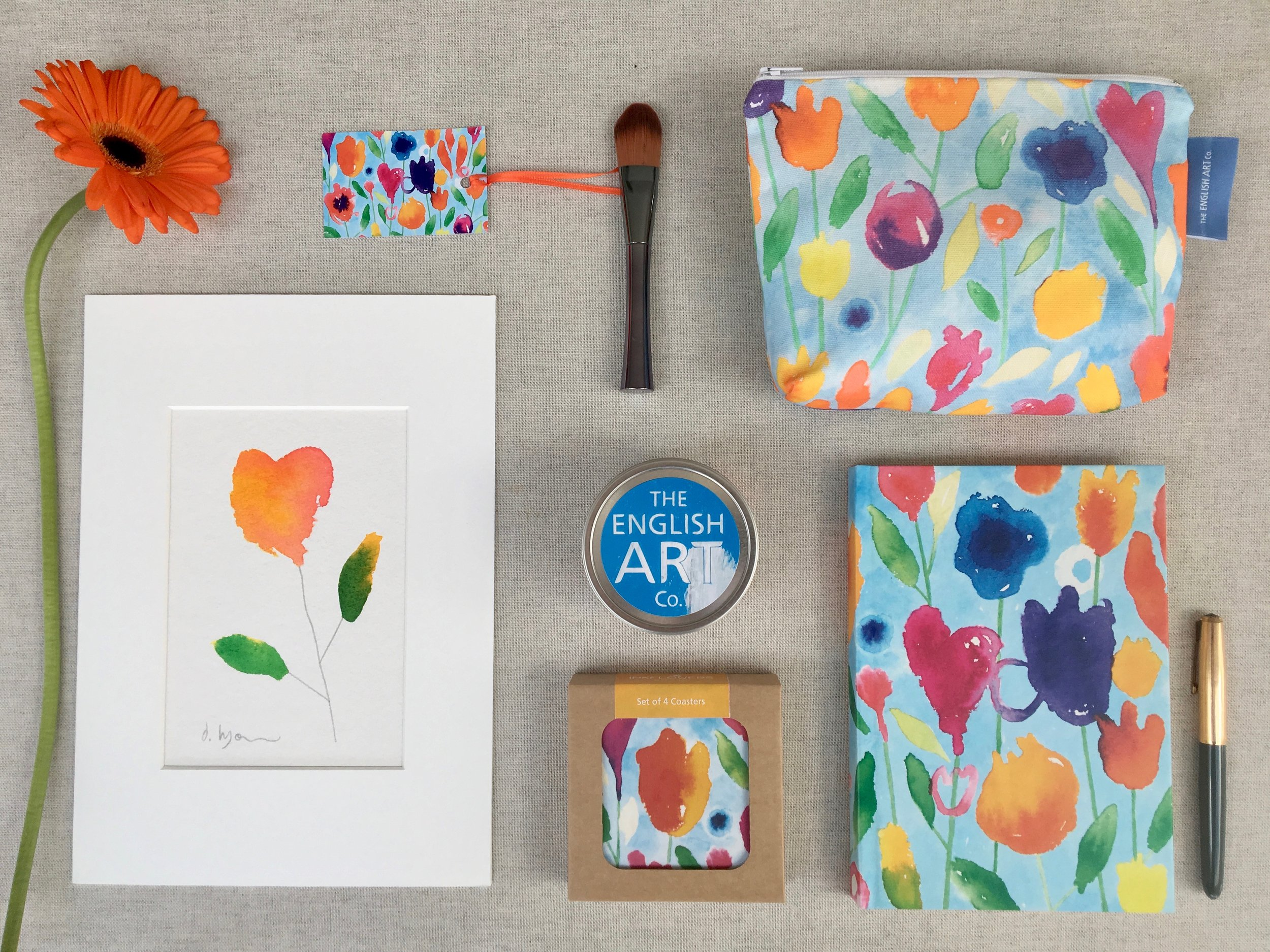ORIGINAL PRINT,  SET OF COASTERS ,  CANDLE ,  MAKE-UP BAG  AND  NOTEBOOK - INKFLOWERS