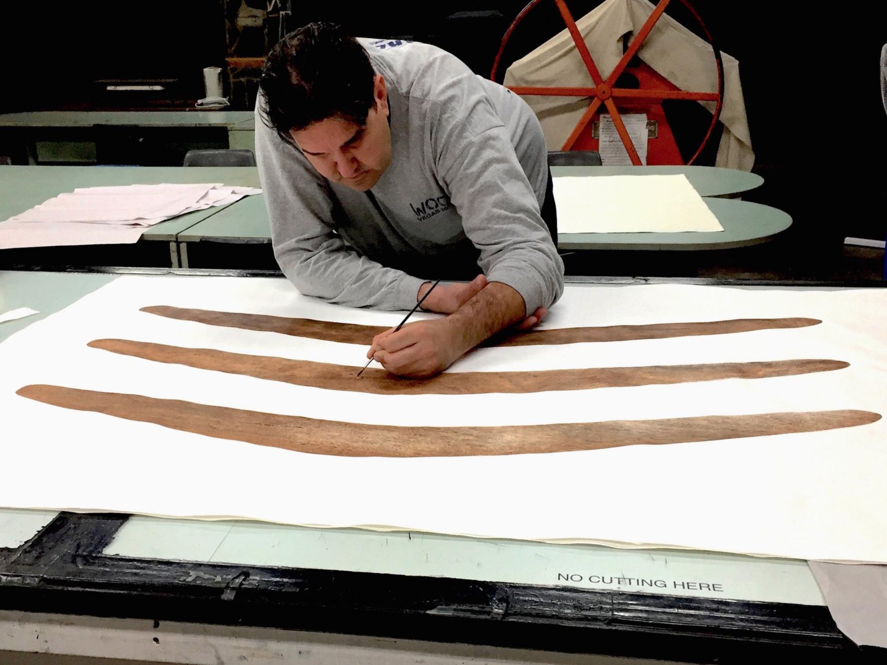 Dylan Sarra working on  Tale of Three Boomerangs