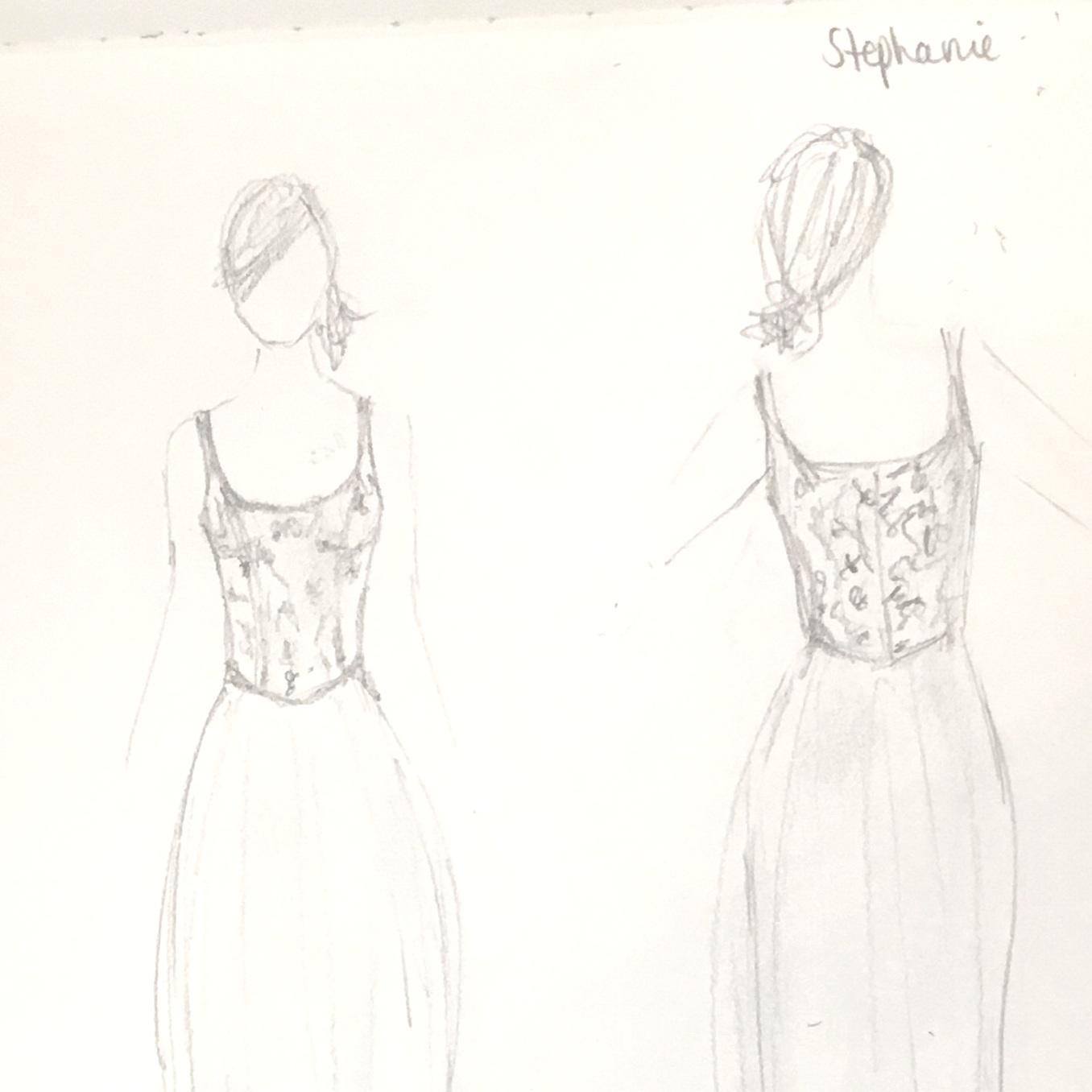 design sketch for bridal gown