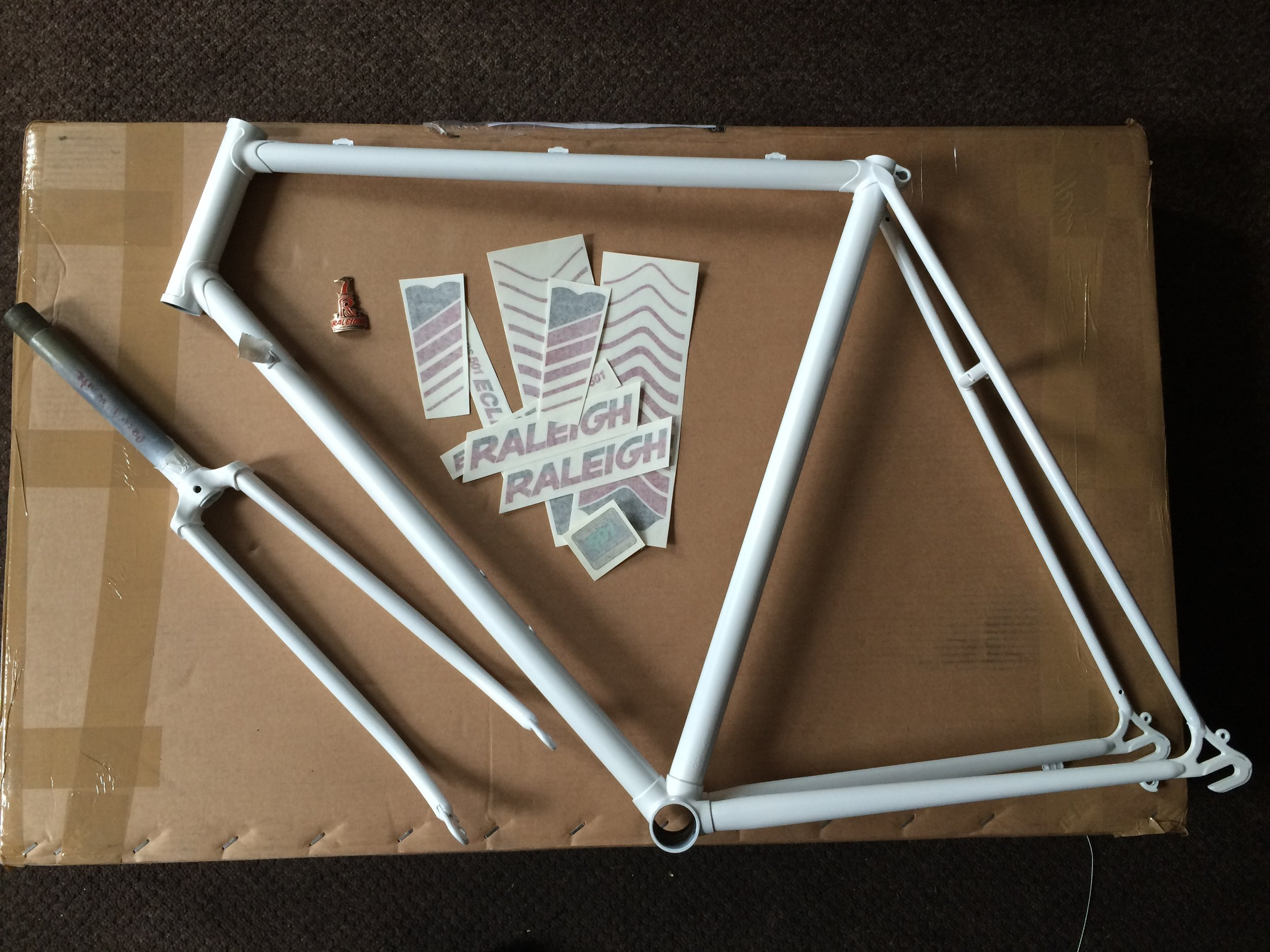 The repainted frame and forks ready for the full set of decals to be applied