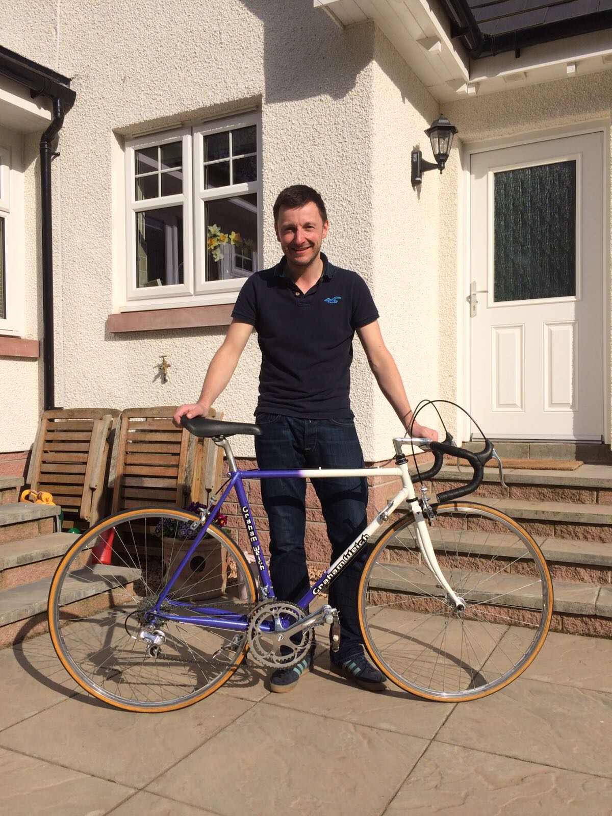 The finished bike in the hands of its new (original) owner.