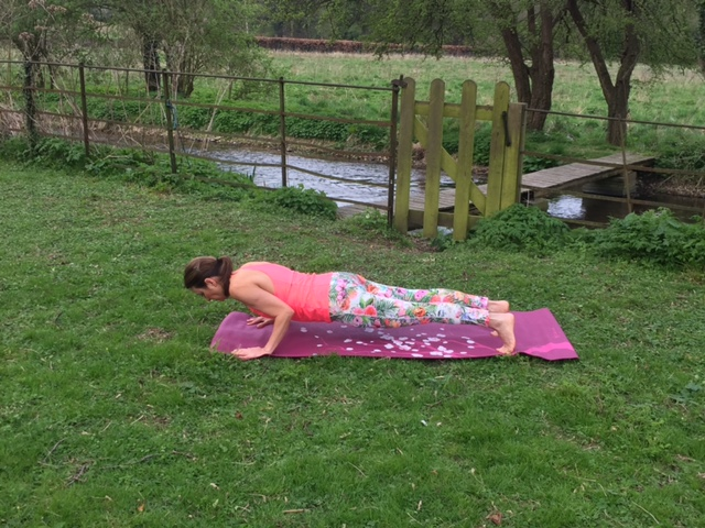 Gradually build your upper body strength to get into this pose fully