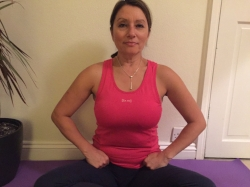 Chin maya mudra placed in groin and breathing in through the middle lobes