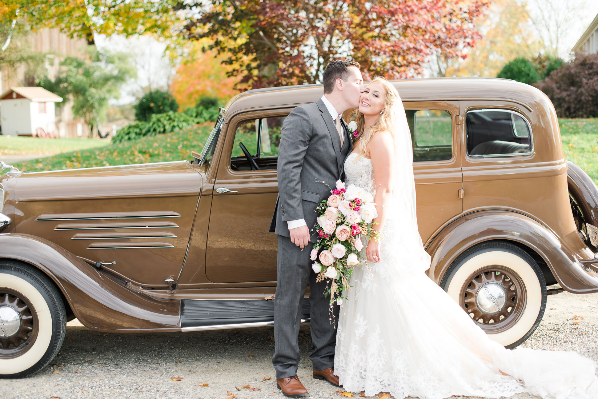 Kalyn + Michael - We are heading up north for this perfect fall barn wedding at Hilltop Manor Inn. Take a peek at their rustic chic wedding featuring a handmade wooden arbor made by the bride's father!