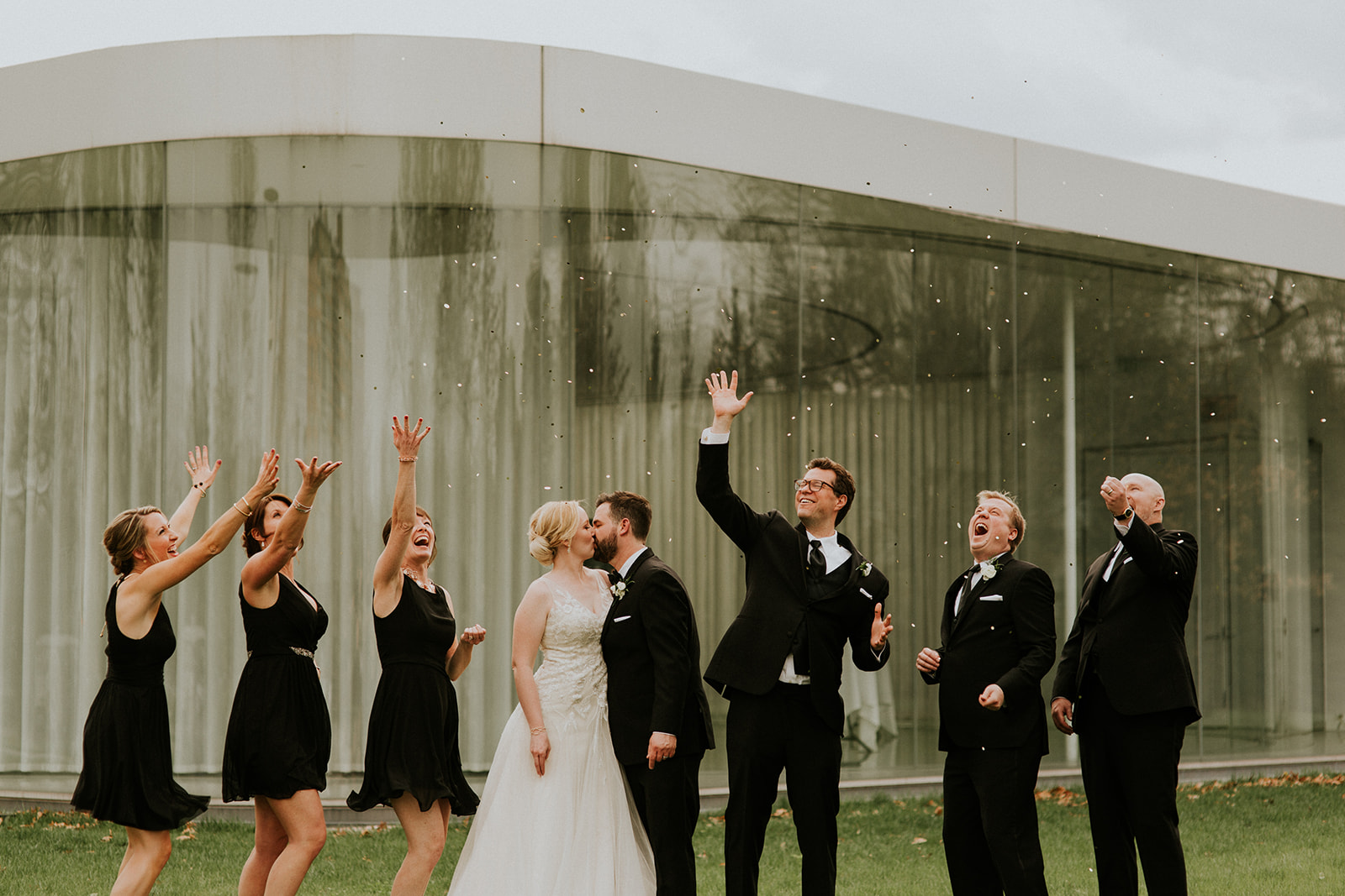 Alison + Kurt - Black bridesmaid dresses, a venue full of charm and history, and a dynamic duo are just a few of our favorite things about this wedding.