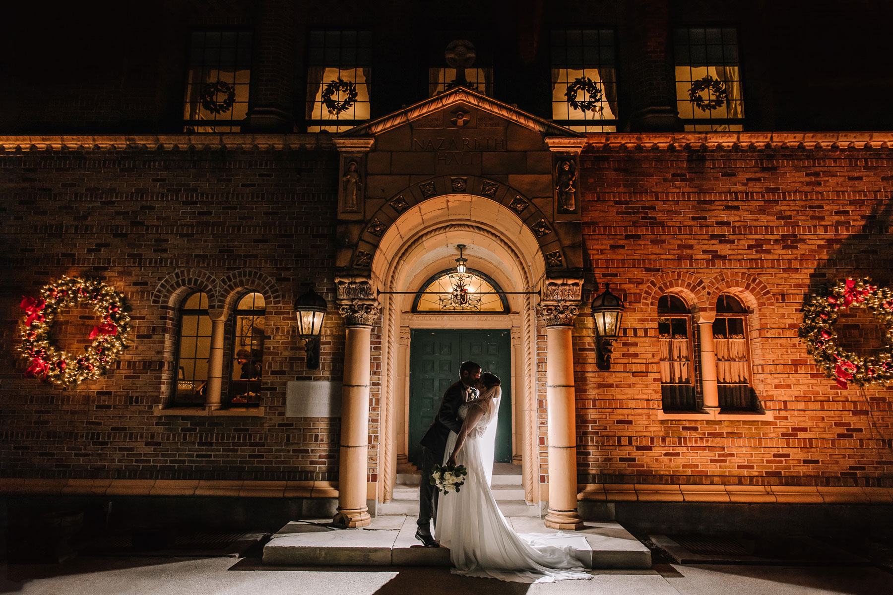 Miranda + Nick - A winter wedding with a black and white color palette set in the beautiful, historic Nazareth Hall venue.
