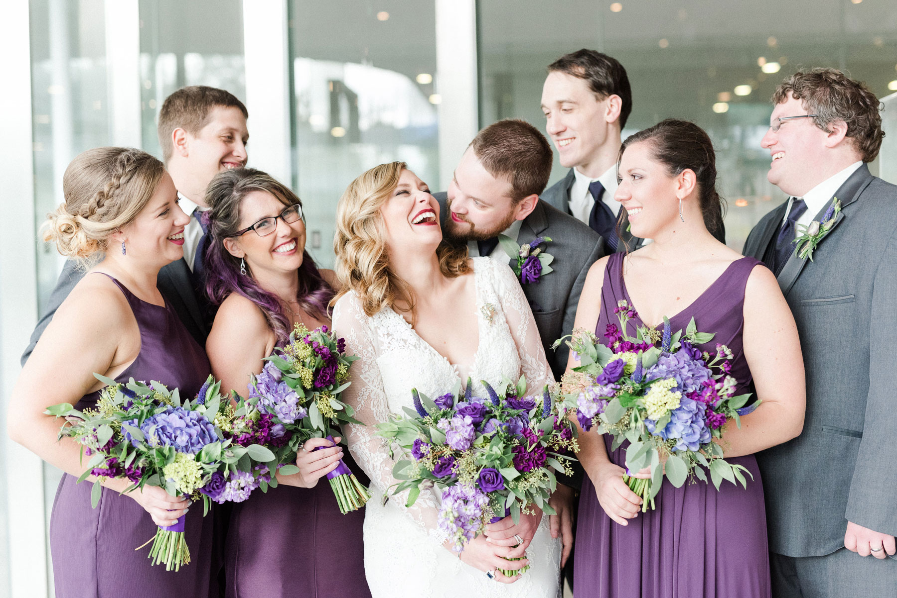 Brittany + Zach - A lush color palette (cue the purples!), gorgeous florals and a beaming bride and groom for this October wedding.