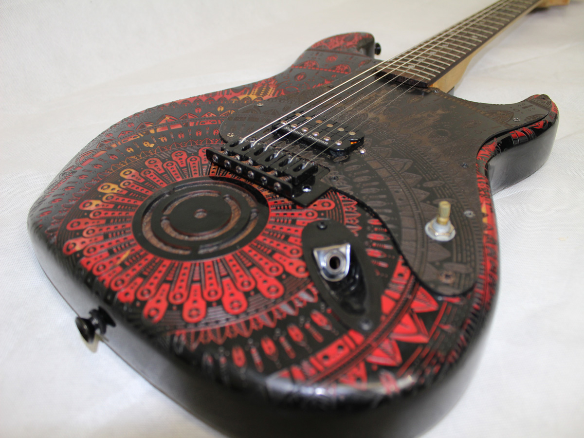burntaxe two stratocaster in red and black mandala design by burntaxe black on black replacement laser etched customised scratchplate pickguard made in Brighton