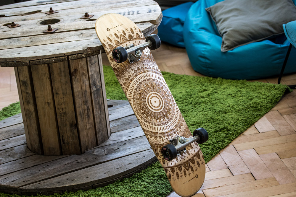 """Mandala design tricky board 8.25"""" deck laser etched by Burntaxe in Brighton england"""