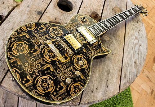 Testimonials Laser etched custom guitar for Isiaah Gayton, all over Burntaxe circuit design