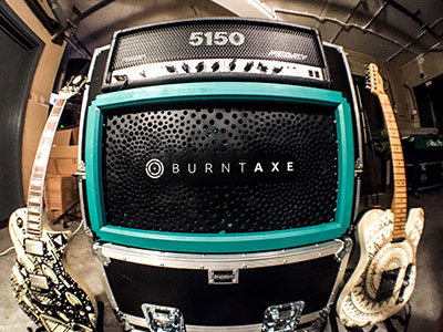 Burntaxe_Laser_Cut_Etched_Guitar_Custom_Speaker_Cabinet with inlaid acrylic lettering and farewella mandala design painted in River Jumpers green and black