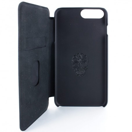 Burntaxe Proporta Laser etched iPhone8 Phone case Open Skull Proporta have teamed up with British designer BurntAxe to produce this limited edition folio case for the Apple iPhone 8 Plus / 7 Plus. Complete with an intricate laser-engraved skull design to the front cover, alongside a beautiful black-on-black skull debossed into the shell, this signature case is sure to make a statement. Our commuter case in a distinguished leather effect offers 9-5 style and sophistication with its premium build and corresponding card slot feature. Carry your business or payment card with you whilst you're on the move, and take advantage of the slim build of the slip-in card construction. Guaranteed to not add excess bulk, this market-leading design ensures the folio's magnetic flip-back cover will always sit flush. The iconic folio case is complete with the design principles we're renowned for, from our soft-feel embedded back shell with ergonomic inserts to our suede-feel lining and hand-crimped edges. An additional six punctures to the front cover offer a glimpse of the robust aluminium which lines the cover and protects your iPhone from damage.