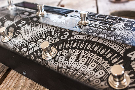 Burntaxe laser etched custom guitar pedal Boss E-S8 Brighton Uk Mandala Design Detail
