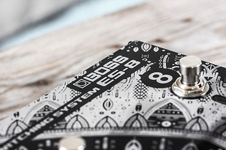 Burntaxe laser etched custom guitar pedal Boss E-S8 Brighton Uk Mandala Design Logo