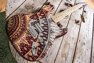 Red and Mirror Mindy Stratocaster guitar scratchplate pickguard using Mandala design filmed in brighton england