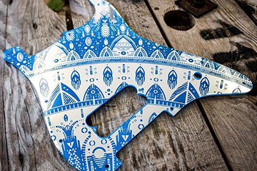 Blue and Mirror silver replacement customised scratchplate pickguard made to order to fit Squier and Fender Stratocaster using Burntaxe Mandala Design filmed in Brighton England