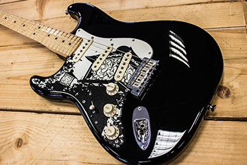 Made to Order fully customised and bespoke replacement scratchplate pickguard japanese lantern and temple design by Burntaxe for Ben Browning for his Black Stratocaster in Brighton England