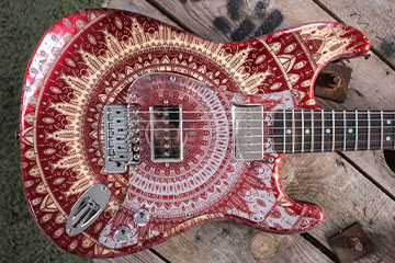 Mindy stratocaster made to order fully customised and leaser etched red and silver mirror mandala design, can be made for Fender or Squier, made in BRighton by Burntaxe