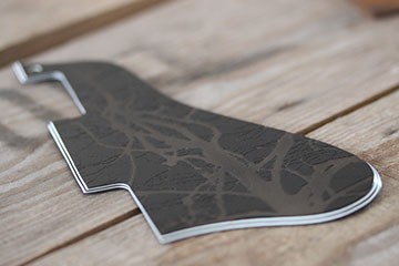 three ply black and white Les Paul or Epiphone made to order fully bespoke burntaxe scratchplate pickguard made in Brighton England by Burntaxe