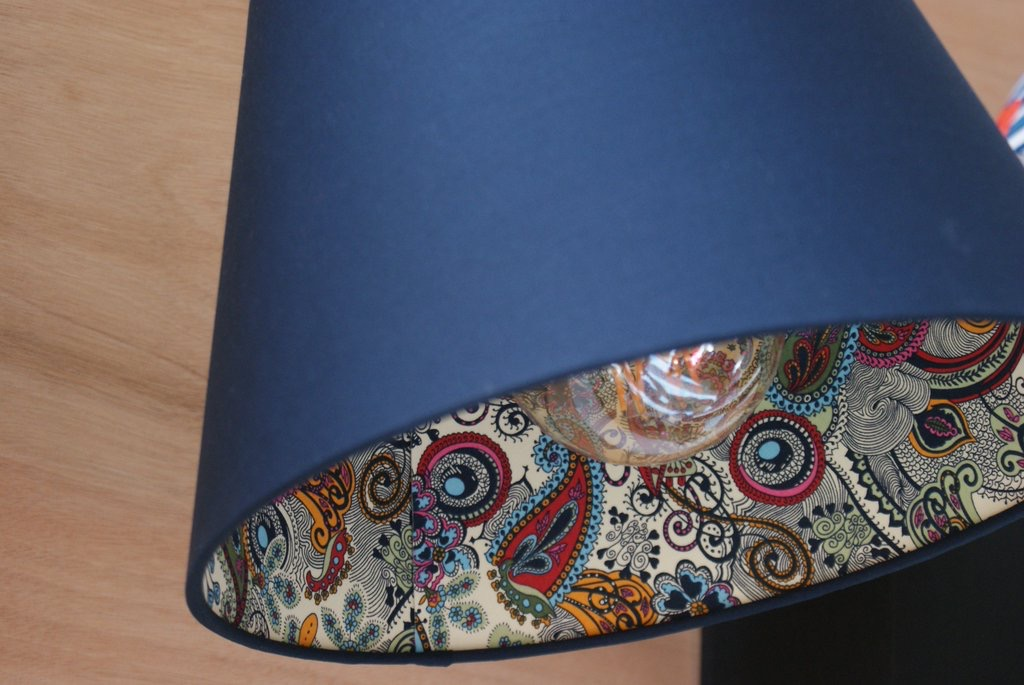 One of our most popular ranges, these modern paisley lampshades are doubled laminated with subtle plain block colour on the outside & funky patterned interior.