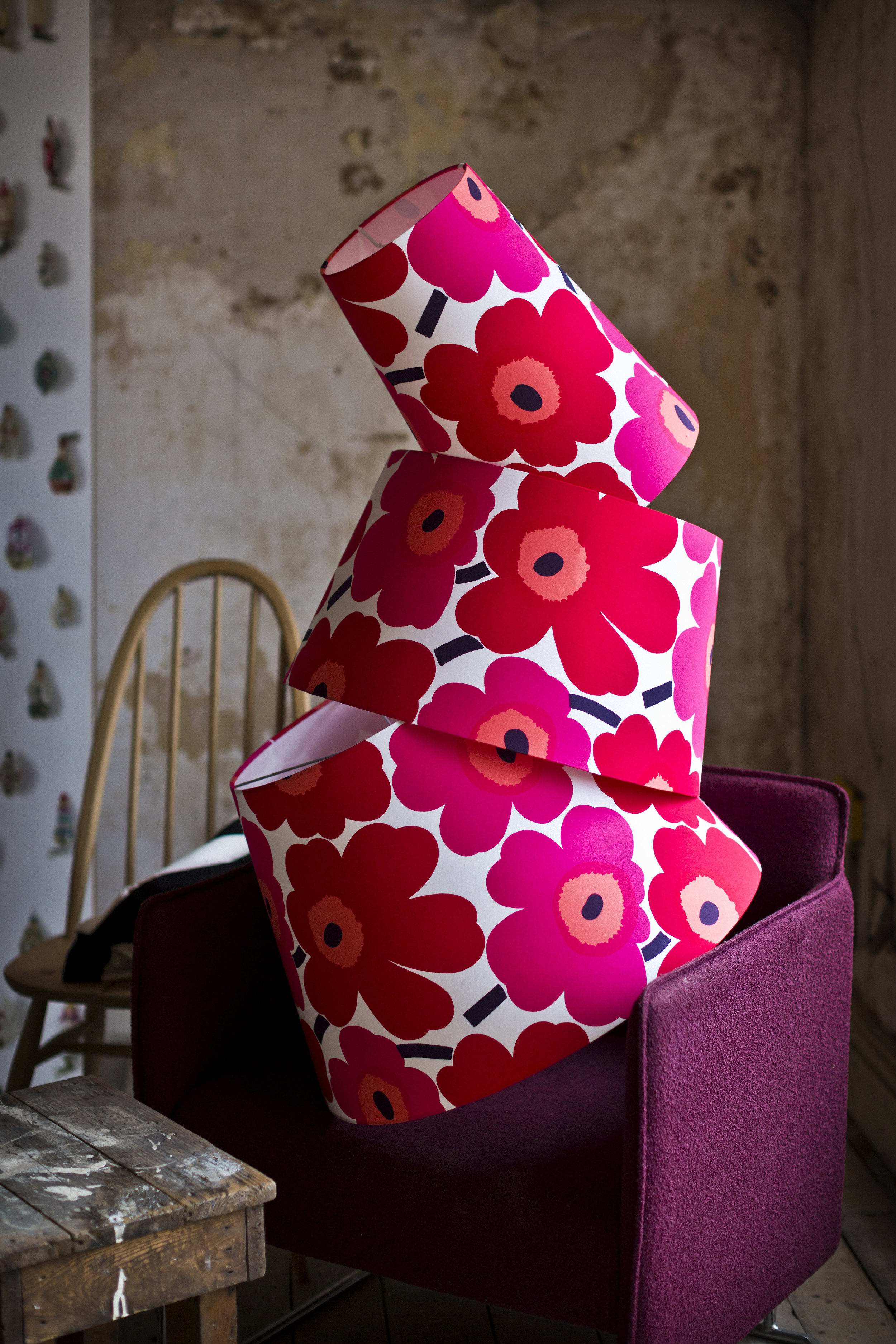 Scandinavian classic Marimekko Unikko.  Oversize lampshades in this famous designer fabric to compliment curtain, cushion and soft furnishings.
