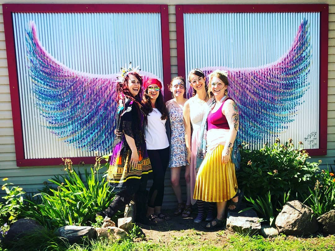 Please check out the huge fairy wing mural that on the side of Roaming Goat coffee shop! #grasslakefairydoors #thepaintedowl #drinkroaminggoat