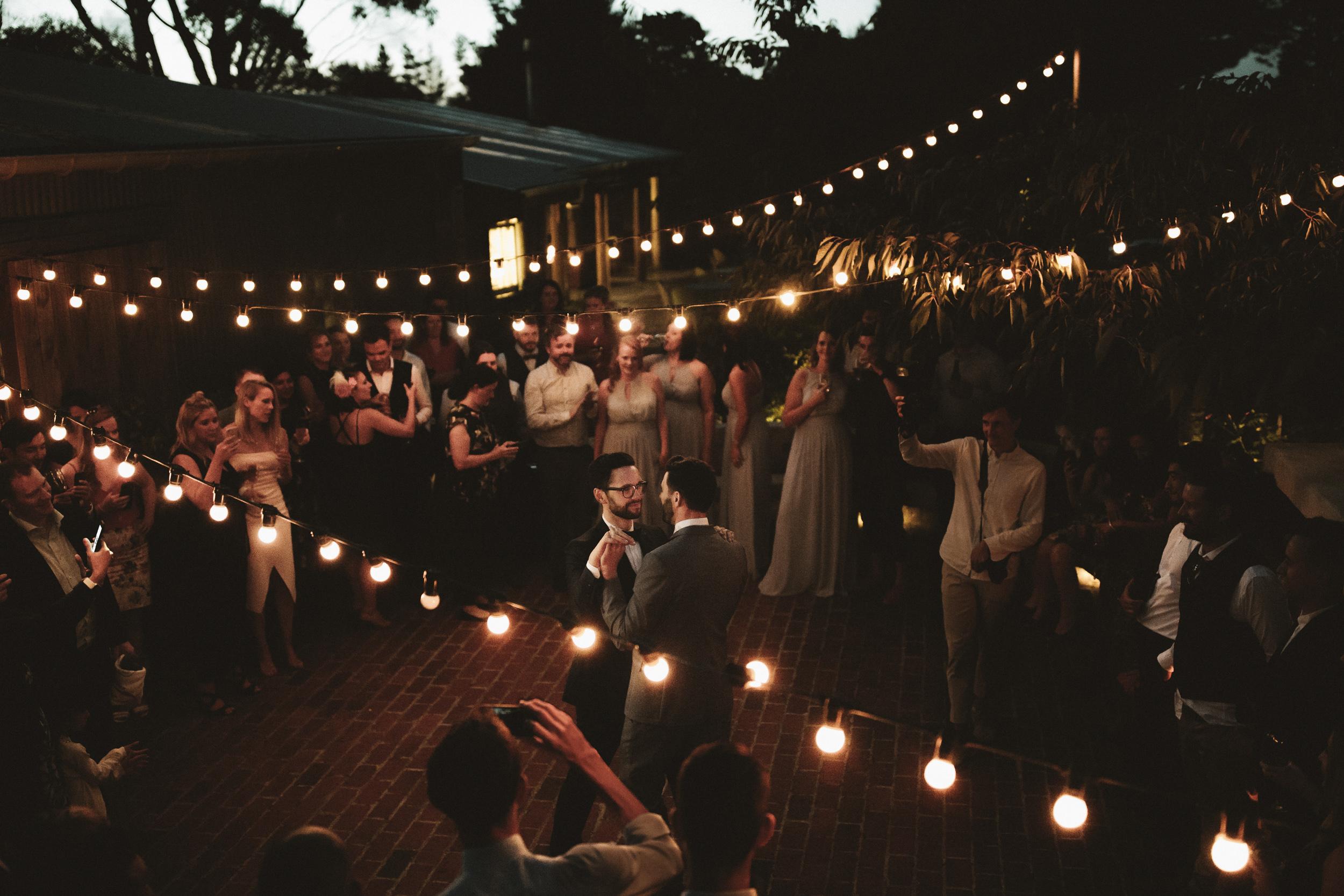 Open air dance floor wedding