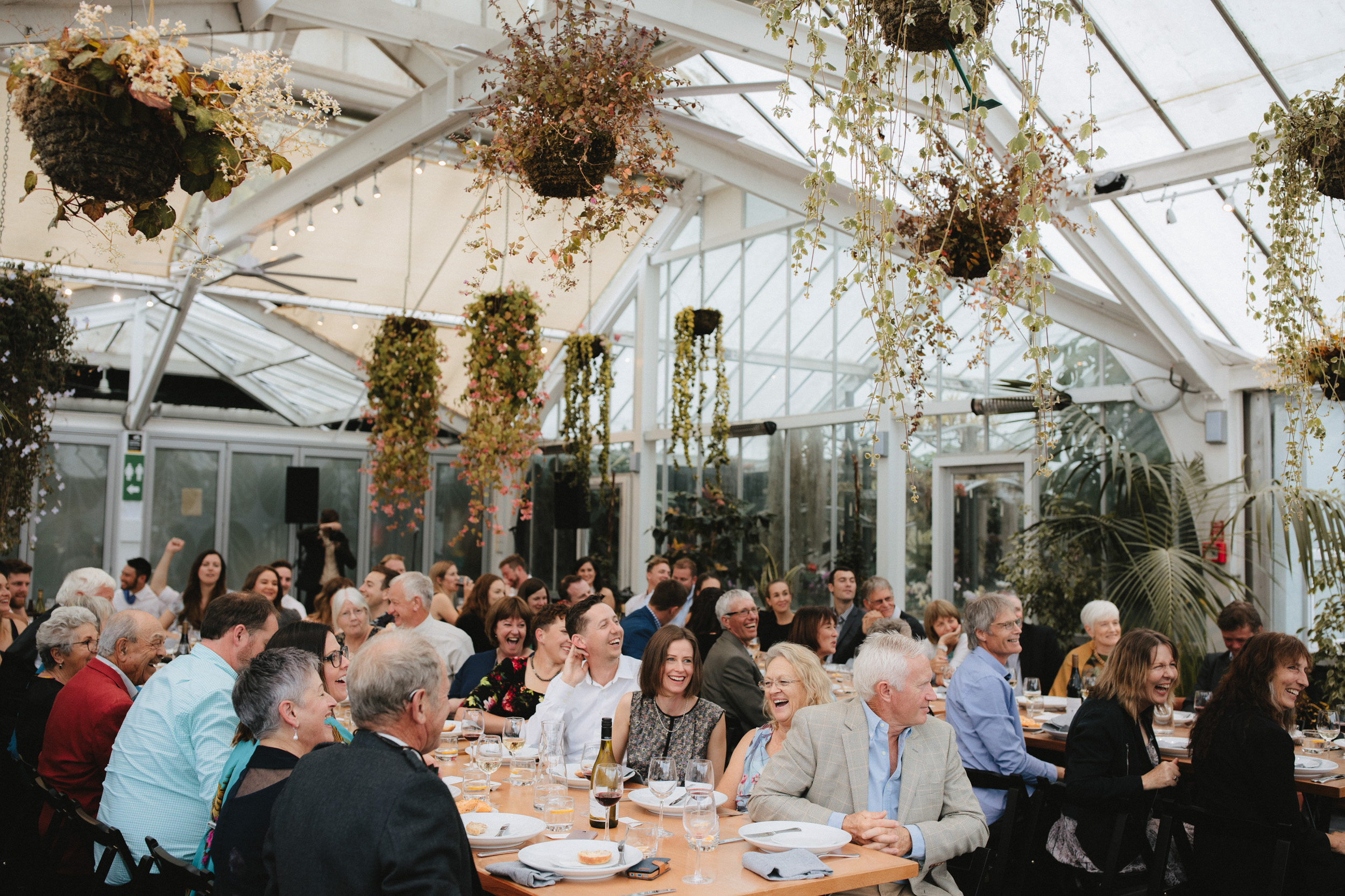 wedding guests enjoying themselves amongst the plants in this Begonia House wedding