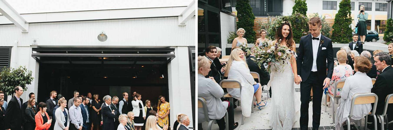 Wellington city centre outdoor urban wedding ceremony at Prefab wedding venue