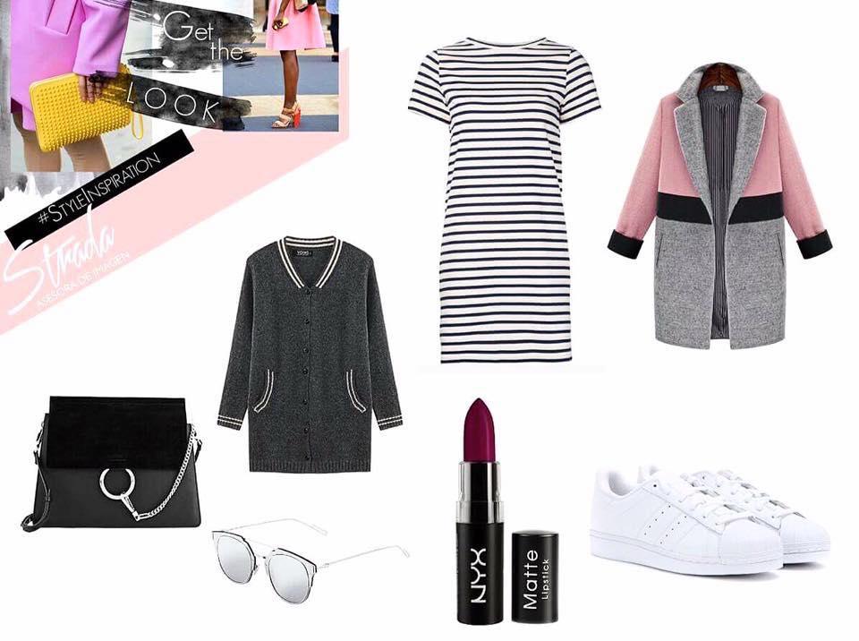 Gray coat / Stripe Dress : SHEINSIDE   Shoulder bag:  CHLOÉ   Sunnies:  DIOR    Sneakers:  ADIDAS ORIGINAL   Cardigan:  H&M