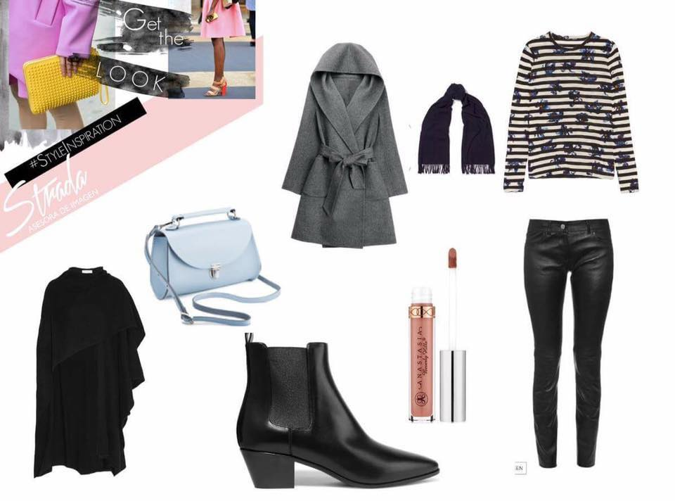 Nude Lipstick: ANASTASIA BEVERLY HILLS    Shoulder Bag / Black Cape : NET - A- PORTER   Ankle boots: ZARA   Leather Leggins: MANGO   Gray Coat:  SHEINSIDE