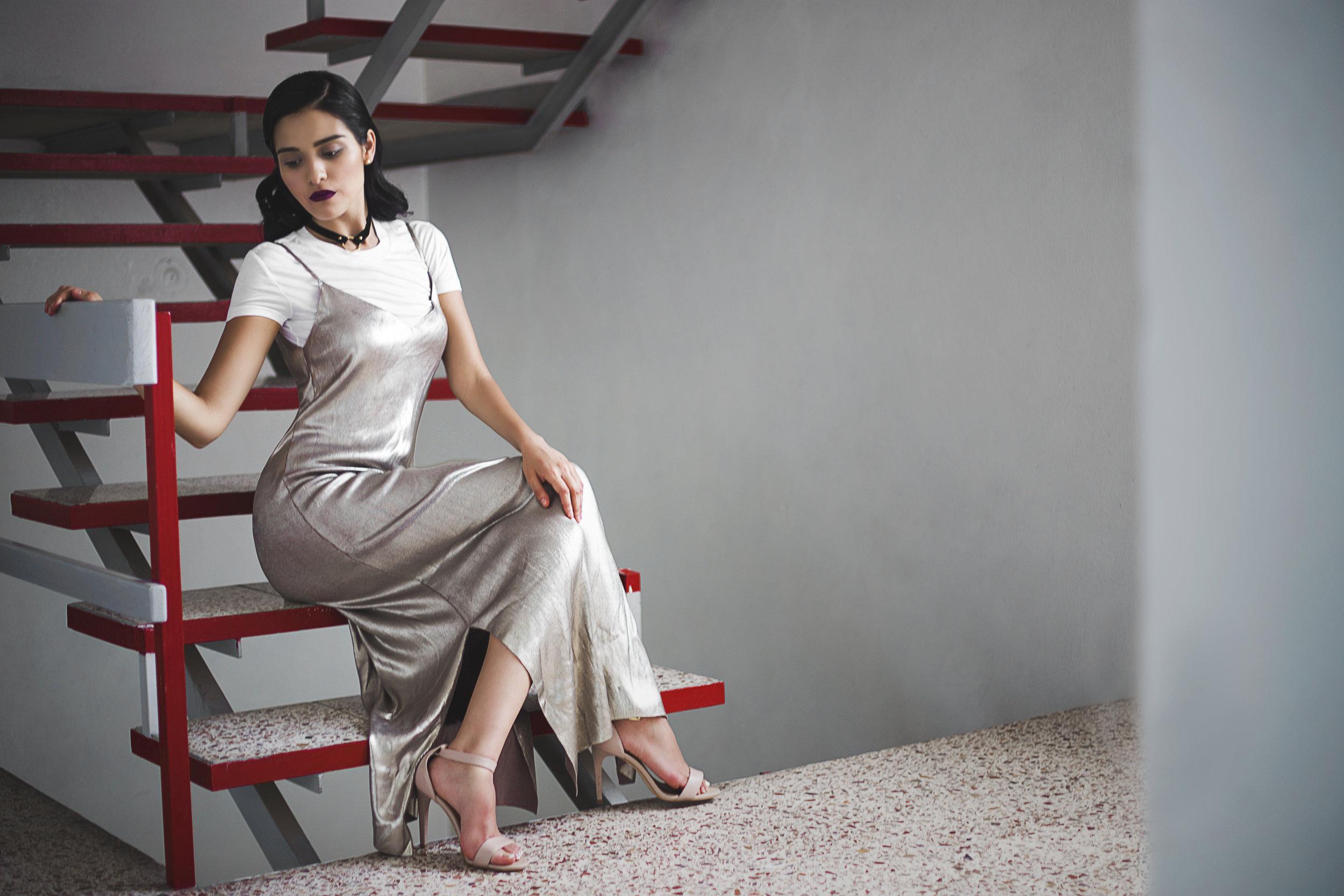 Dress: ZARA  Ankle strap heels: Michel Domit