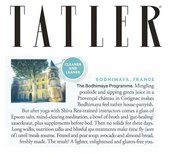 Tatler luxury detox, weight loss and anti-ageing retreat.