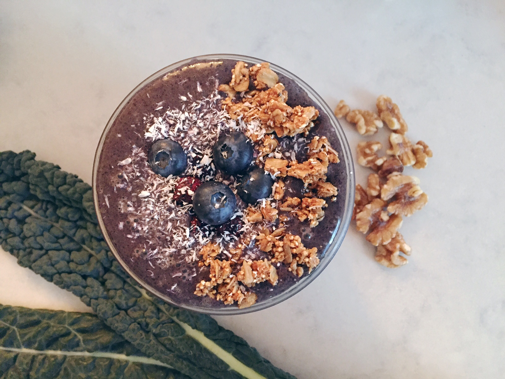 A smoothie full of antioxidants from blueberries, kale, and cinnamon plus the omega-3 fatty acids in walnuts will certainly give your brain (and mood) a boost!