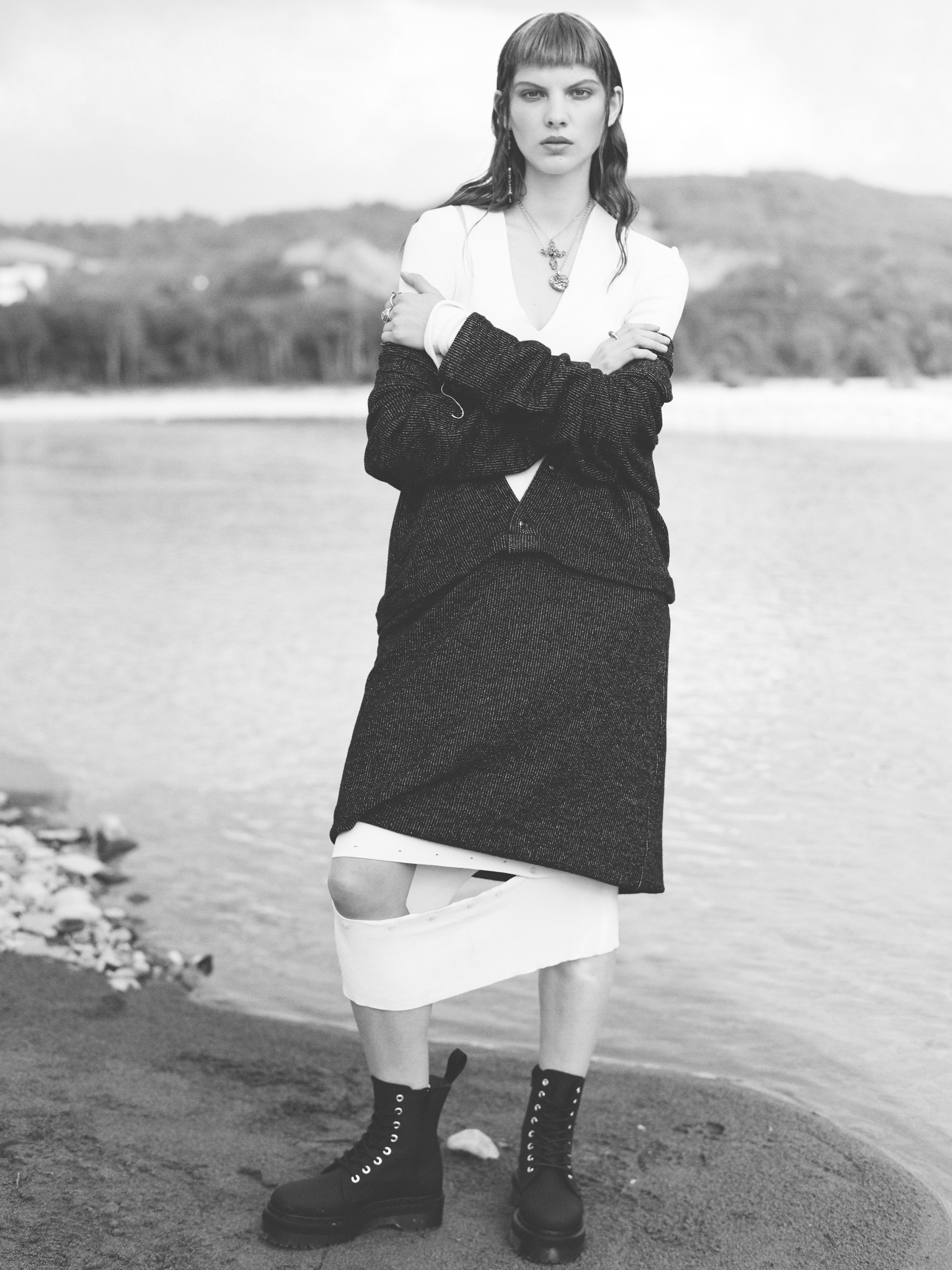 White Dress: Ports 1961; Black Dress: Studio Pretzel; Boots: Dr. Martens; Jewellery: Manuel Bozzi