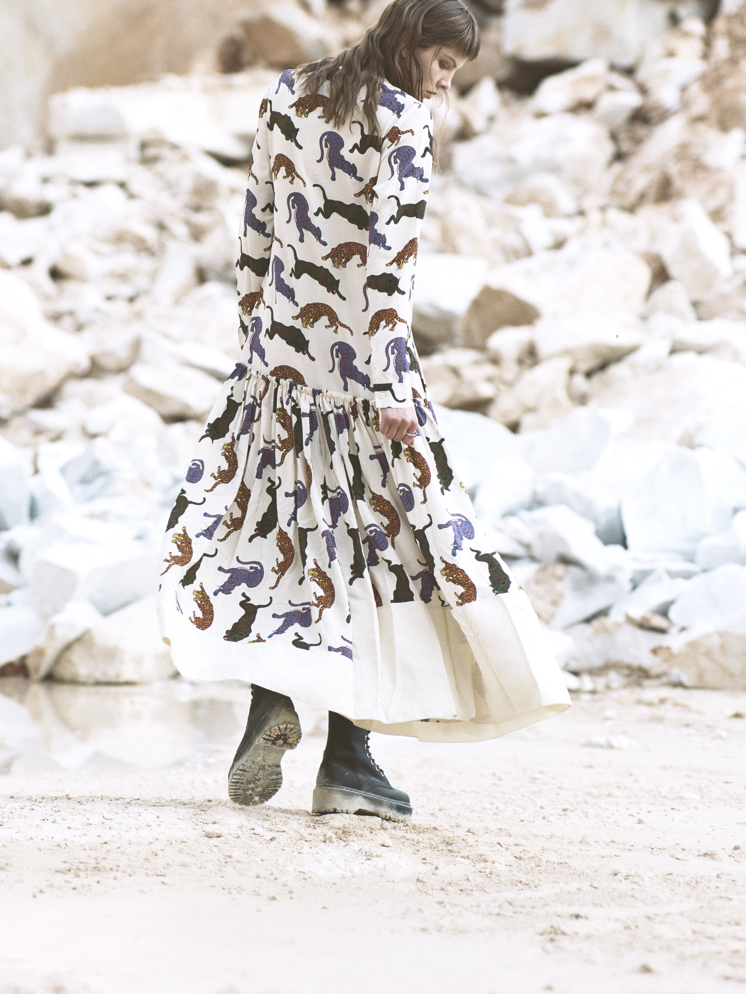 Dress: Stella McCartney; Boots: Iceberg