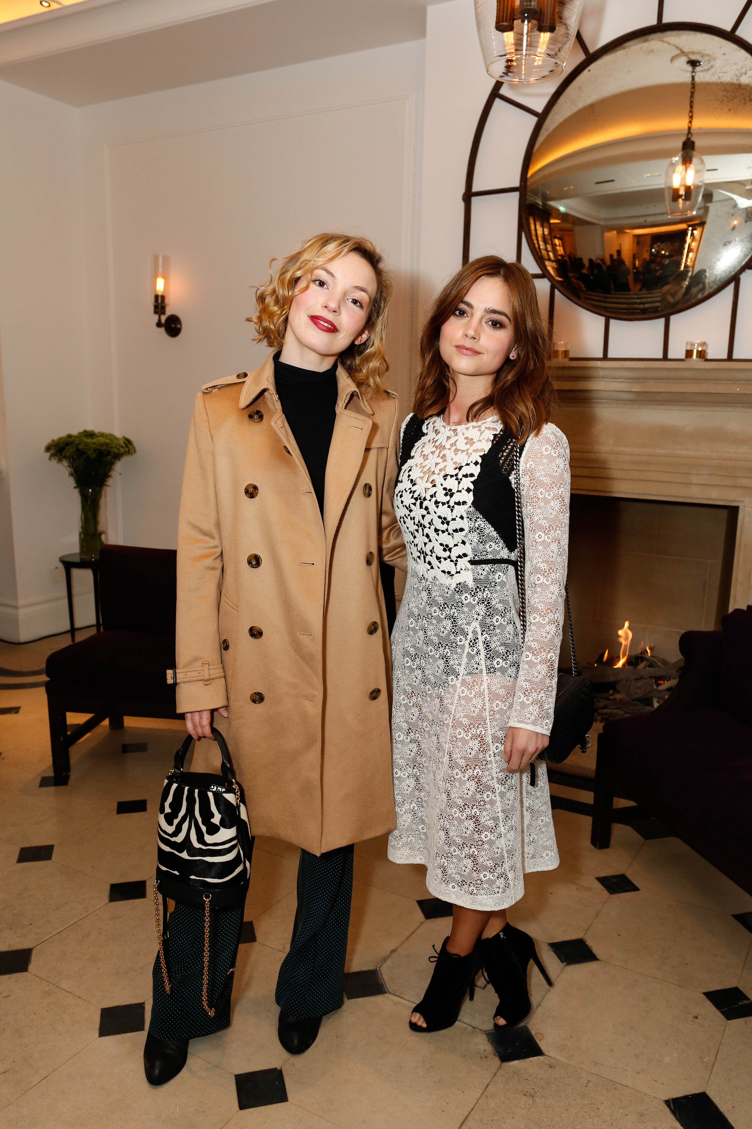 Jenna Coleman and Perdita Weeks wearing Burberry at the Burberry So It Goes event at Thomas's, London, 9th February 2016