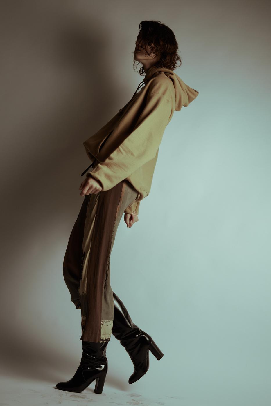 Sweatshirt: Champion; Trousers: Atelier Pichita; Boots: Max Mara