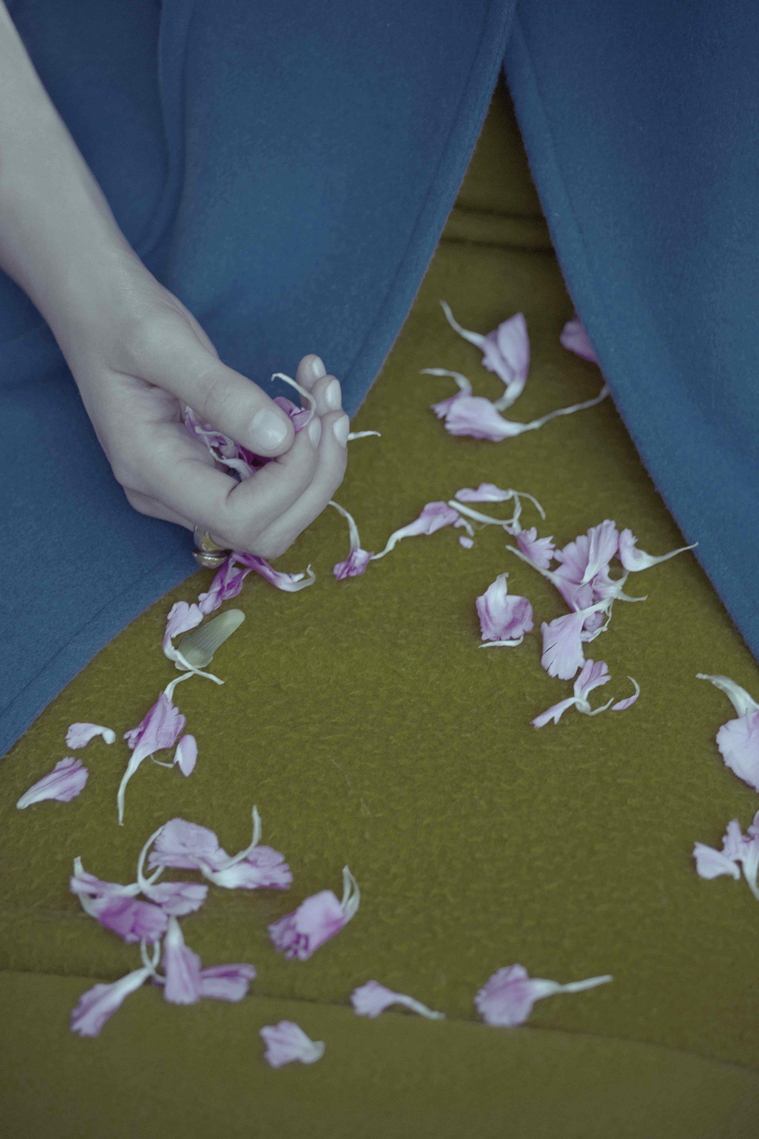 Teal coat by Jil Sander, skirt by Rochas