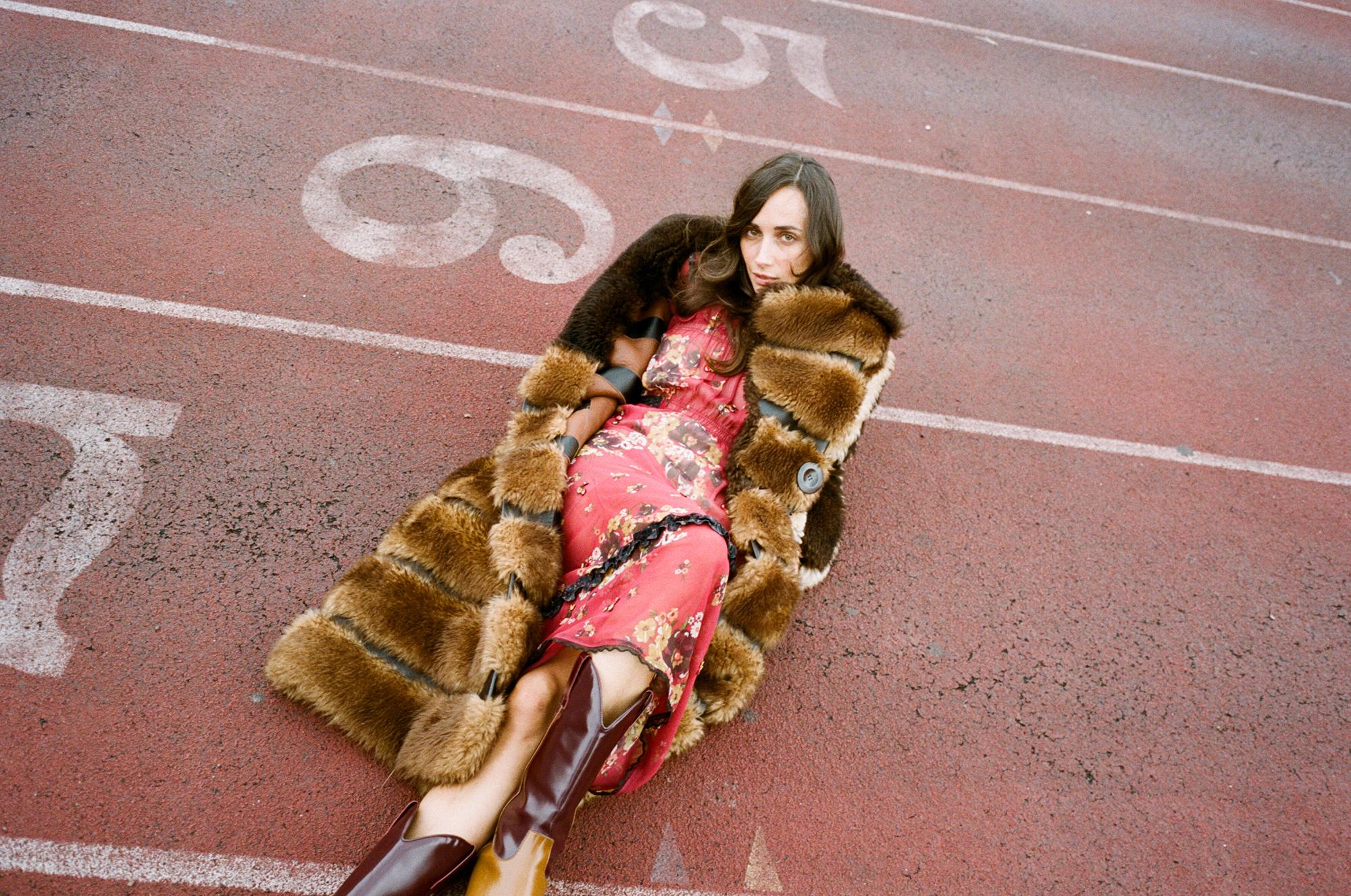 Dress & coat: Coach; Boots: Calvin Klein