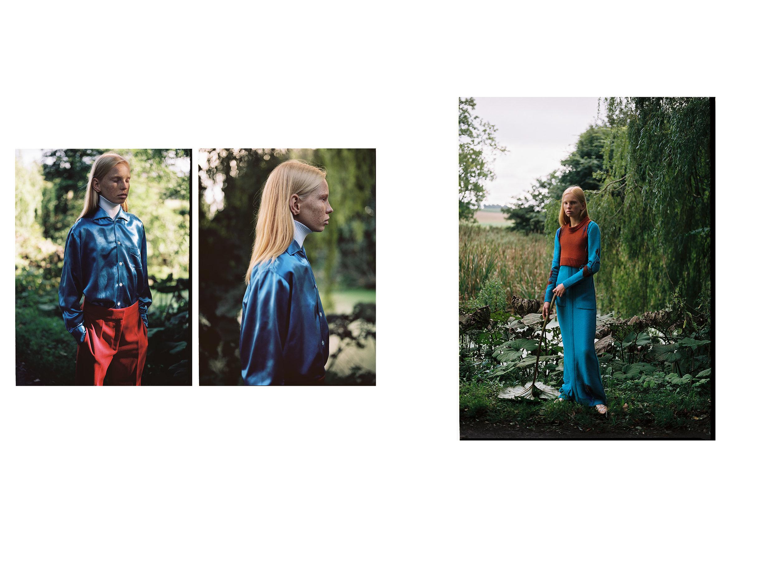 Turtleneck: Louis Vuitton; Shirt: Stylist's own; Trousers: COS