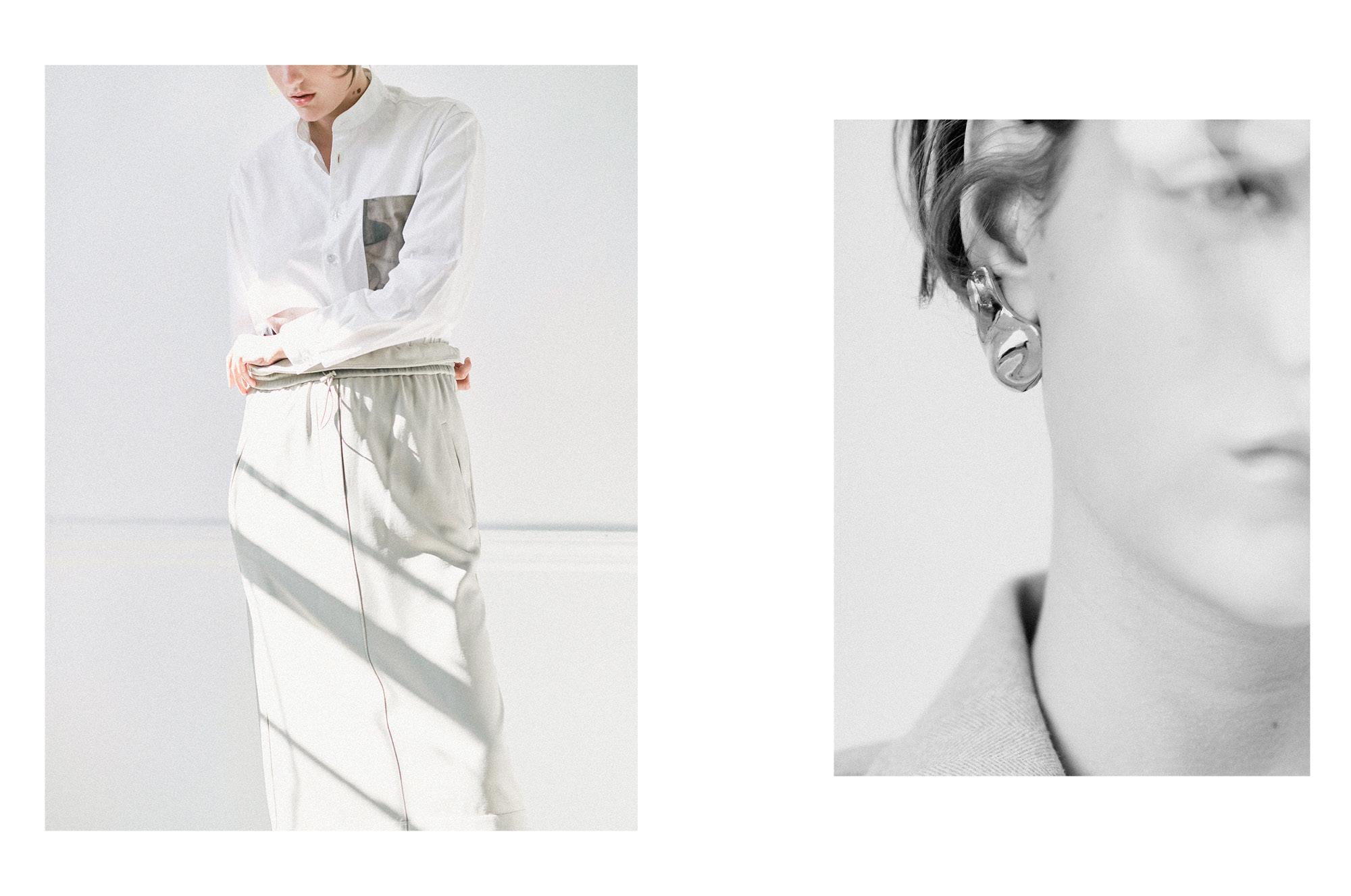 LEFT Shirt: Rosetta Getty; Skirt; Tibi.  RIGHT Earring: Mounser; Blazer:Snow Xue Gao