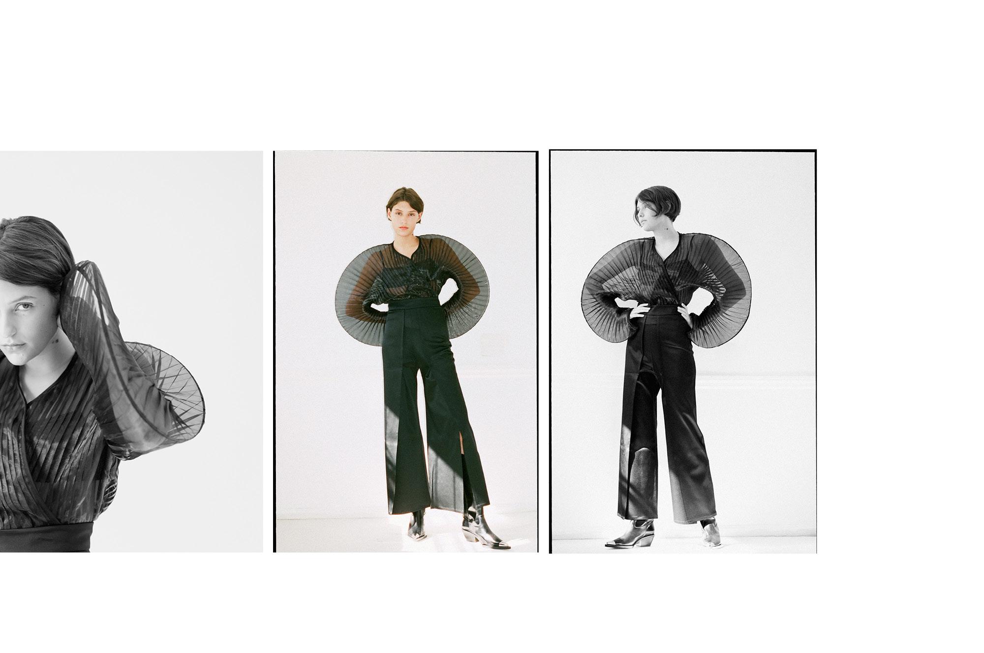 Shirt & Trousers: Sid Niegum; Bra:Eres; Boots: Helmut Lang.