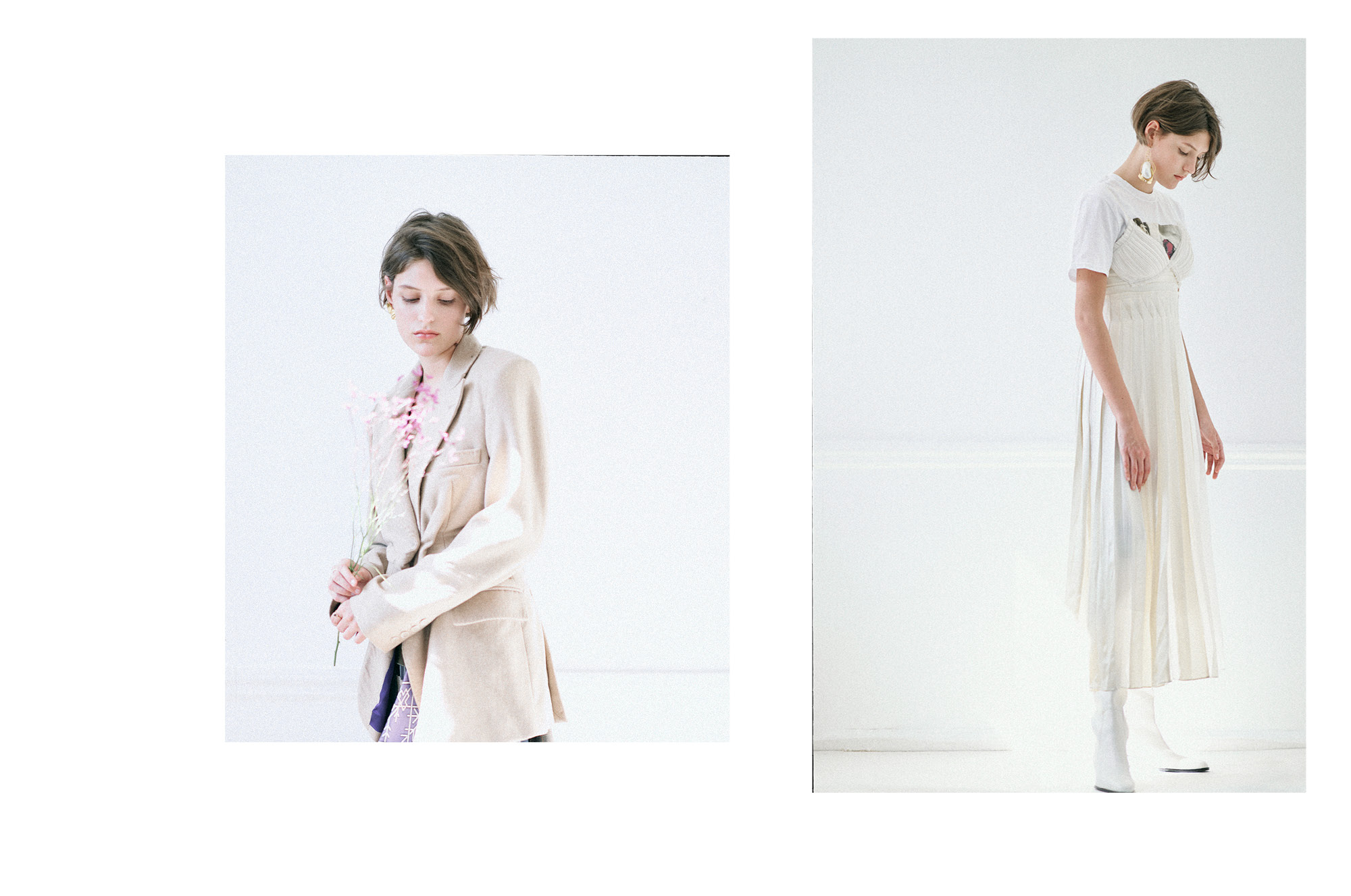 LEFT Blazer: Xue Gao; Earring:Mounser earring   RIGHT Dress & Boots: 3.1 Phillip Lim; Shirt: Les Girls Les Boys; Earring: Mounser