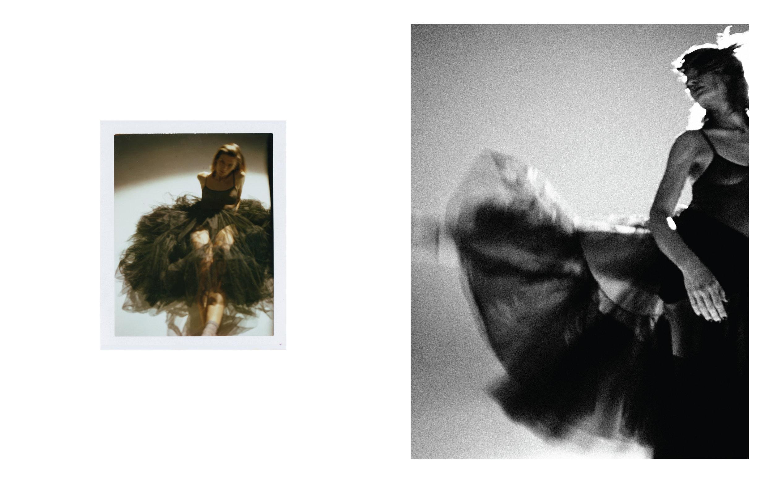 Bodysuit: The Great Eros; Skirt: Christian Dior; Socks: Darner