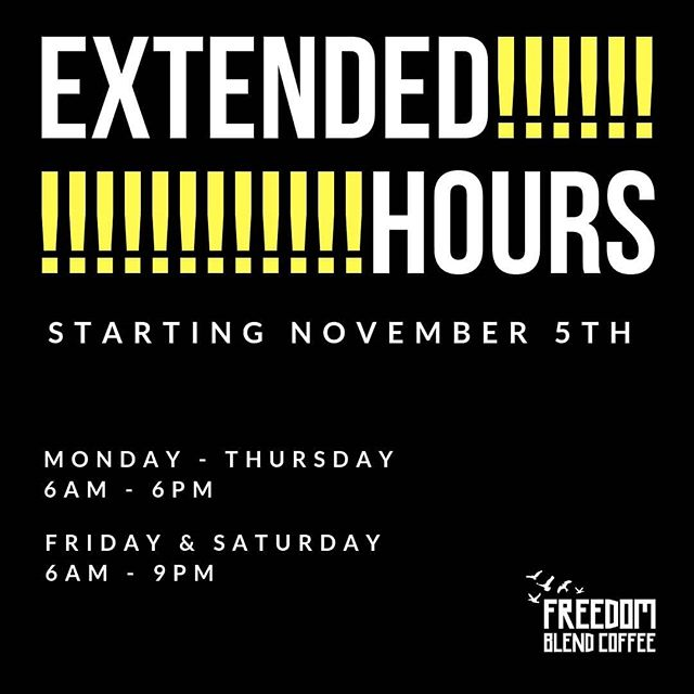 IT'S HAPPENING! Starting November 5th, we'll be extending our hours! We're so excited to see those of you who weren't able to visit us before. Most importantly, we're pumped to provide even more employment training opportunities to young people in our community! HELP US SPREAD THE NEWS! Share this with your family, friends, study partner, dog, etc. etc. etc. 😃😃😃