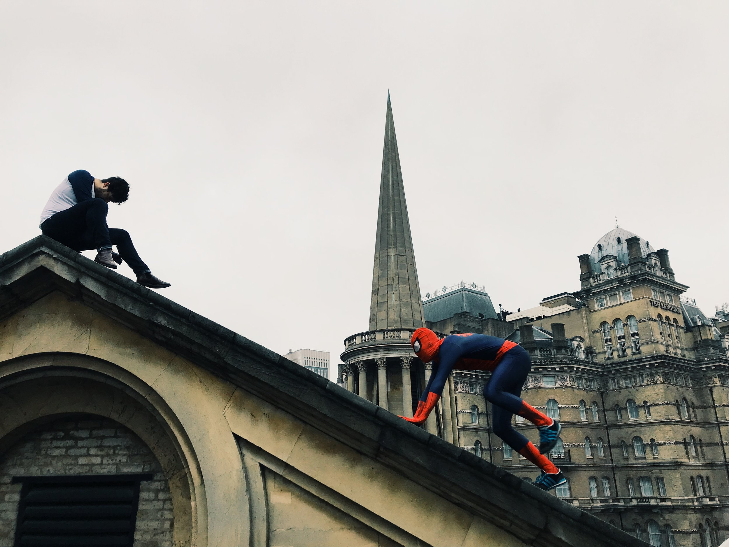 Spiderman on the roof