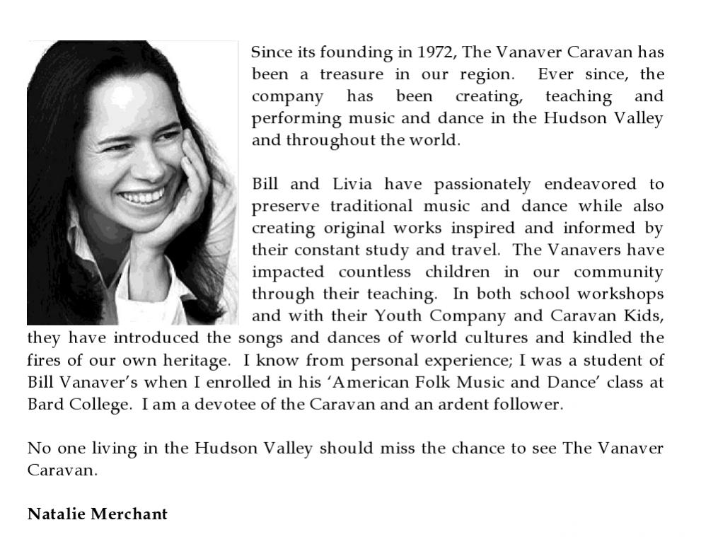 Letter from Natalie Merchant