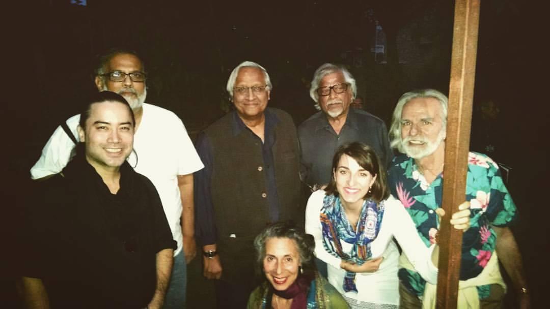 Joel Hanna, Tushar Gandhi, Bunker Roy, Arun Ghandhi, Bill Vanaver, Miranda Ten Broeke, and Livia Vanaver during the Gandhi Legacy Tour at The Barefoot College in Tilonia, India.