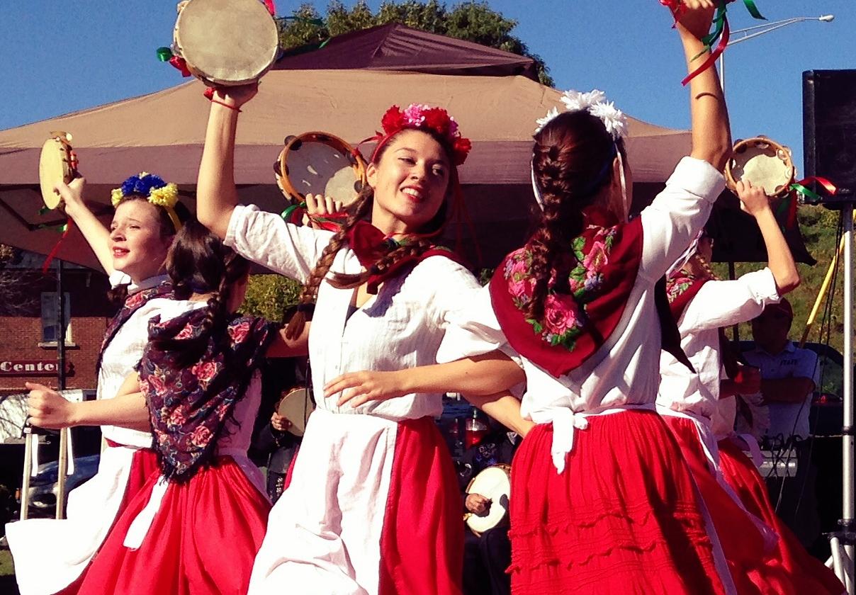 """Youth Company Graduates: Neve Parker & Alena Brocker, and dancer, Amelia Verderosa, perform """"The Tarantella"""" at the Italian Festival. Kingston, NY, 2013."""